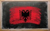 Flag Of Albania On Blackboard Painted With Chalk