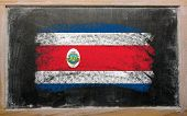 Flag Of Costa Rica On Blackboard Painted With Chalk