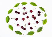 Set Of Large Group Of Red Cherry Berries And Green Leaves Cherry Tree. Beautiful Composition Of Berr poster