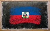 Flag Of Haiti On Blackboard Painted With Chalk