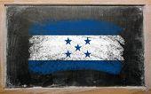 Flag Of Honduras On Blackboard Painted With Chalk