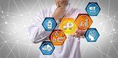 Unrecognizable Pharmaceutical Research Scientist Managing Prescription Drug Supply Chain Via Touch S poster