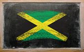 Flag Of Jamaica On Blackboard Painted With Chalk