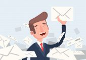 Businessman Found Right Letter In A Pile Of Emails. A Lot Of Emails, Spam, Direct Mail. Vector Illus poster