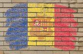 Flag Of Andora On Grunge Brick Wall Painted With Chalk