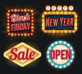 Black Friday Or New Year Sale Discount Promo Offer Icons For Posters Or Advertising Flyer. Vector Li poster