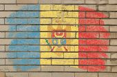 Flag Of Moldova On Grunge Brick Wall Painted With Chalk