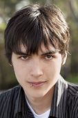 Outdoor Portrait Teen Caucasian Boy Dark Hair