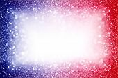 Abstract Patriotic Red White And Blue Glitter Sparkle Background For Party Invite, July Fireworks Bo poster