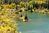 Mountain Pond Surrounded By Aspen Trees And Evergreens