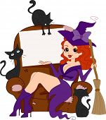 Illustration of a Pinup Girl in a Witch Costume