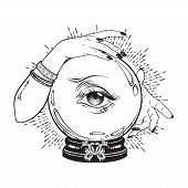 Hand Drawn Magic Crystal Ball With Eye Of Providence In Hands Of Fortune Teller. Boho Chic Line Art poster
