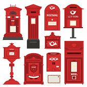 Red English Post Box Set With Vertical Pillar Letter-box, Public Wall Letterbox And Pedestal Mail Po poster