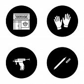 Tattoo Studio Glyph Icons Set. Piercing Service. Tattoo Parlour Exterior, Medical Gloves, Piercing G poster