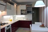 Glossy Modern Kitchen With White Top And Cherry Bottom poster
