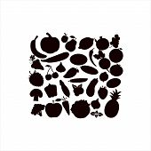 Fruit And Vegetables Icon Set.vector Silhouettes Of Fruits Vegetables, Berries On A White Background poster