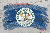 Flag Of Belize On Grunge Wooden Texture Painted With Chalk