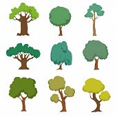 Cartoon Green Trees. Cute Nature Forest Plant And Bushes Vector Set Isolated On White Background. Fo poster