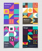 Retro Swiss Graphic Posters With Geometric Bauhaus Shapes. Vector Abstract Backgrounds In Old Modern poster