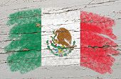 Flag Of Mexico On Grunge Wooden Texture Painted With Chalk