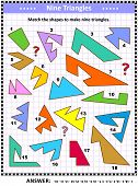 Iq And Spatial Skills Training Math Visual Puzzle: Match The Shapes To Make Nine Triangles. Answer I poster