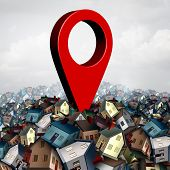 House Search Finding A Home And Find Property Concept As A Pin On A Group Of Family Houses As A Real poster