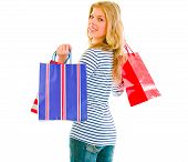 Smiling Teen Girl With Shopping Bags