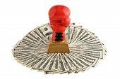 Boxer glove on money