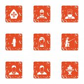 Religion Icons Set. Grunge Set Of 9 Religion Vector Icons For Web Isolated On White Background poster