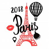 Vector Air Balloon And Paris Red Eiffel Tower Hand Draw Isolated On White Background poster