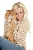 Beautiful Blonde With A Fluffy Persian Cat poster