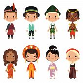 Happy Kids Of Various Nationalities. Girl And Boy Nationality, People Child Asian Ethnic Dress. Vect poster