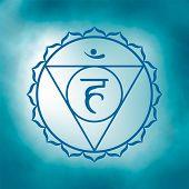 Fifth, Throat Chakra - Vishuddha. Illustration Of One Of The Seven Chakras. The Symbol Of Hinduism,  poster