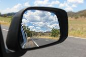 View In The Side Mirror Of The Road And Country Side In Rural New South Wales Bylong Valley - Austra poster