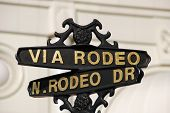 Beverly Hills Via Rodeo Street Sign