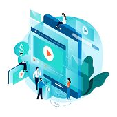Modern Isometric Concept For Video Marketing Campaign, Video Ad, Digital Content, Promotion, Online  poster