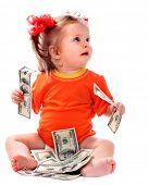 Kind mit Euro-Geld. kostet Business concept.how viel es, um ein Kind zu haben?