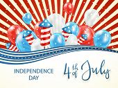 Independence Day Background With Stars And Red And Blue Lines. Lettering 4th Of July With Balloons A poster