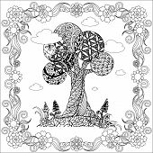 Hand Drawn Zen Tangle Monochrome Stylized Tree In Floral Frame, Stock Vector Illustration For Web, F poster