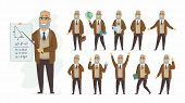 Teacher - Vector Cartoon People Character Set Isolated On White Background. Senior Man Teaching Diff poster
