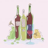 Glass Blue Glass On A Background Of Green Bottle Of Wine Glare Grapes Peaches Composition Colorful V poster
