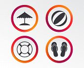 Beach Holidays Icons. Ball, Umbrella And Flip-flops Sandals Signs. Lifebuoy Symbol. Infographic Desi poster