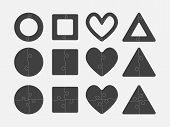 Colour Puzzle Shape - Circle, Square, Heart, Triangle. Vector Puzzle Illustration Template Shape. Ji poster