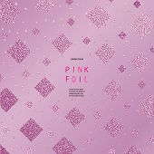 Rose Quartz Glossy Background. Metallic Texture. Gold Pink Metal. Trendy Template For New Year, Wedd poster