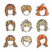 Collection Of Cute Girls Faces, Vector Human Head Flat Illustrations. Set Of Red-haired And Blonde T poster