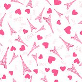 Seamless Pattern. Illustration Pink Ink Eiffel Tower. Vector Decorations Isolated On White Backgroun poster