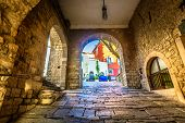 Scenic View At Old Stone Streets In City Center Of Motovun Town, Istria Region In Croatia. poster
