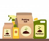 Packing With Soil For Potted Plants. Potting Soil, Various Fertilizers In Bottles And Spray Gun. Vec poster