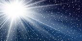 Ray Blue Background. Shiny Graphic. Abstract Sun Burst. Sunbeam Design. Sunny Sparkle Sky. Summer Su poster