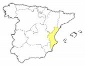Map Of Spain, Valencian Community Highlighted